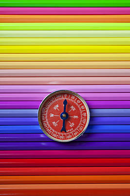 Red Compass On Rolls Of Colored Pencils Art Print by Garry Gay