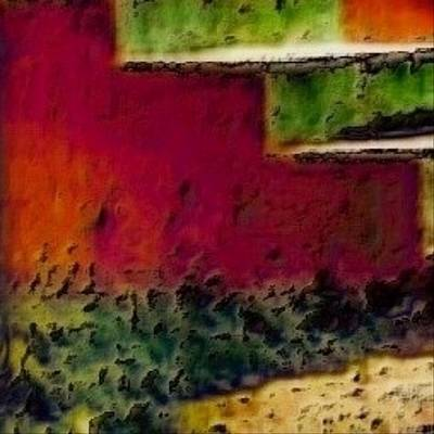 Digital Art - Red Concrete Steps - Square by Lyn Voytershark