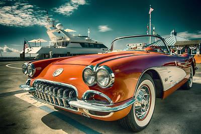 Red Corvette Chevrolet Classic Car Original by Dapixara Art