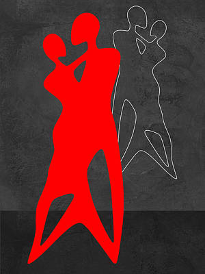 Man And Woman Mixed Media - Red Couple Dance by Naxart Studio