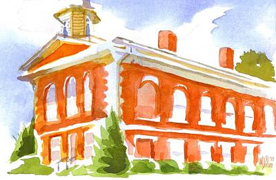 Red Courthouse With Evergreen Original by Kip DeVore