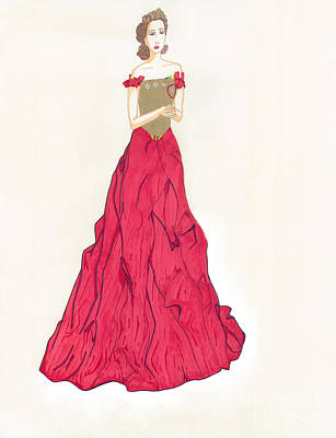 Red Gown Drawing - Red Couture Gown by Asia Johnson