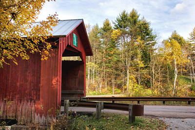 Red Covered Bridge   Art Print