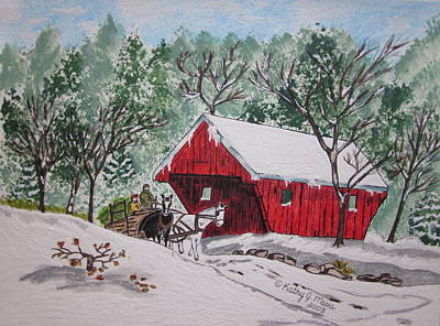 Red Covered Bridge Christmas Art Print