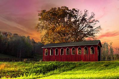 Red Covered Bridge Art Print by Debra and Dave Vanderlaan