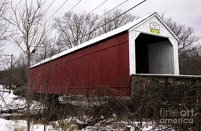 Photograph - Red Covered Bridge In Winter by John Rizzuto