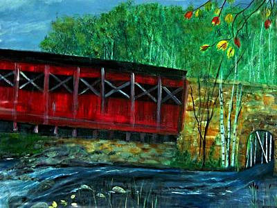 Red Covered  Bridge  Art Print by Rick Todaro