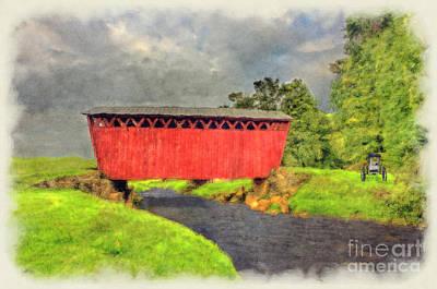 Red Covered Bridge With Car Art Print by Dan Friend