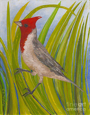Reverse Acrylic On Plexiglass Painting - Red-crested Cardinal by Anna Skaradzinska