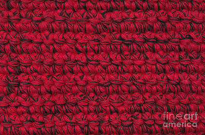 Textile Tapestry - Textile - Red Crochet Work by Kerstin Ivarsson