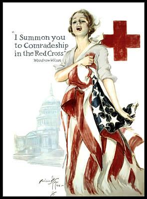 Red Cross World War 1 Poster  1918 Print by Daniel Hagerman