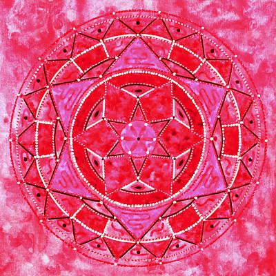 Red Crystal Mandala Art Print by Vlatka Kelc