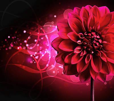 Hdr Mixed Media - Red Dahlia Elegance by Georgiana Romanovna