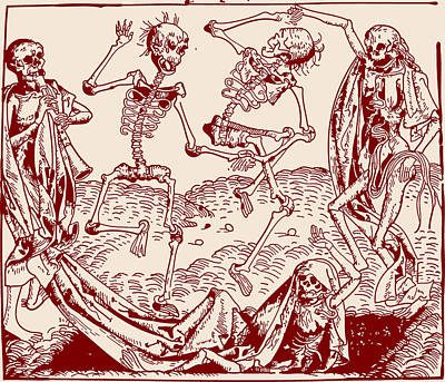 Wall Art - Drawing - Red Dance Macabre by