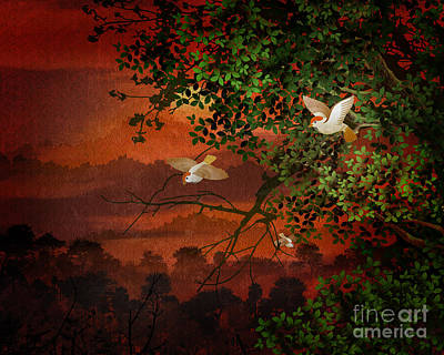 Swallow Digital Art - Red Dawn Sparrows by Bedros Awak