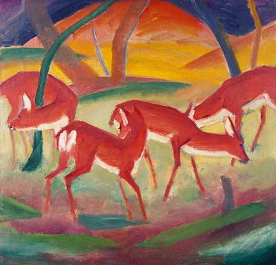 Franz Marc Painting - Red Deer 1 by Franz Marc