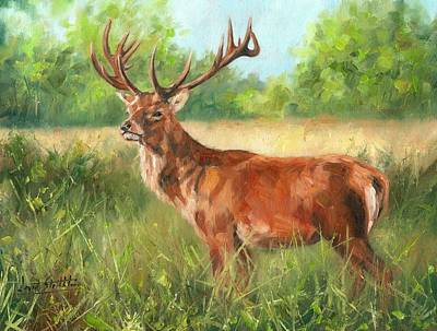 Red Deer Painting - Red Deer by David Stribbling