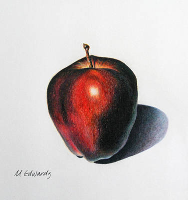 Fruit Colored Pencil Drawing Drawing - Red Delicious Apple by Marna Edwards Flavell