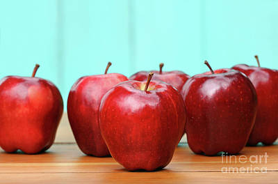 Photograph - Red Delicious Apples On Old School Desk by Sandra Cunningham