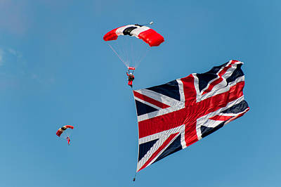 Photograph - Red Devils Parachute Display  by Gary Eason