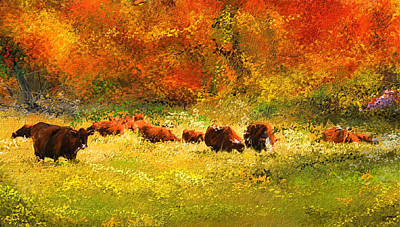 Farm Scene Painting - Red Devon Cattle In Autumn -cattle Grazing by Lourry Legarde