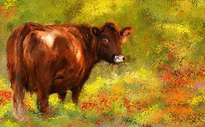 Autumn Scene Painting - Red Devon Cattle - Red Devon Cattle In A Farm Scene- Cow Art by Lourry Legarde