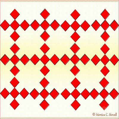 Digital Art - Red Diamonds On White And Pale Yellow Design by Monica C Stovall
