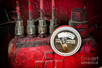 Photograph - Red Diesel Engine by Les Palenik