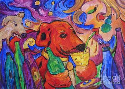 Painting - Red Dirk Dog And Rita Drink by Dianne  Connolly