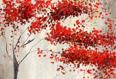Triptych Painting - Red Divine- Autumn Impressionist by Lourry Legarde
