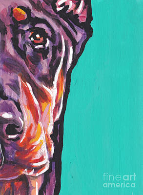 Red Dobie Man Art Print by Lea S