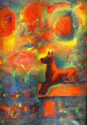 Red Dog In The Garden 2 Art Print by Nato  Gomes