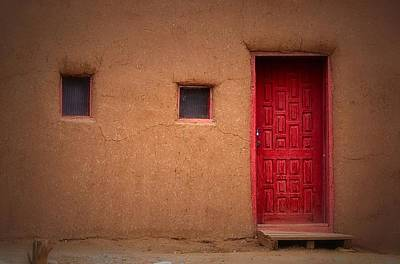 Photograph - Red Door Adobe by Nadalyn Larsen