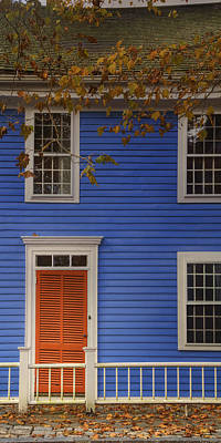 Fall Leaves Photograph - Red Door Blue House by Joan Carroll