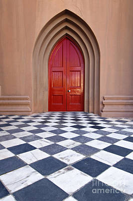 White Marble Photograph - Red Door - D001859 by Daniel Dempster