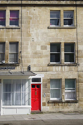Photograph - Red Door In Bath by Sharon Popek