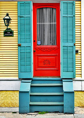 Yellow Photograph - Red Door In New Orleans by Christine Till