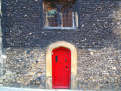 Red Door In Winchester Uk Art Print