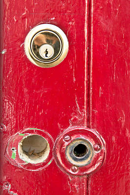 Theft Photograph - Red Door Lock by Tom Gowanlock