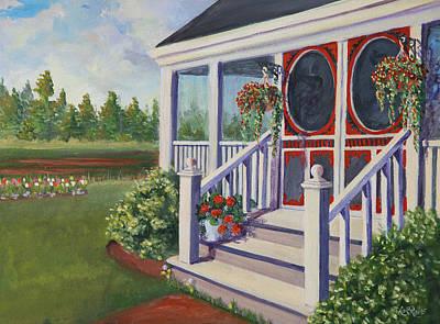 Verandah Painting - Red Door by Lorraine Vatcher