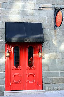 Old Quebec Photograph - Red Door Red Sign by Sophie Vigneault