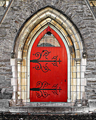 Photograph - Red Door With Hinges by Ethna Gillespie