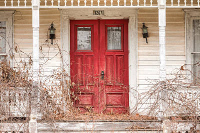 Old House Photograph - Red Doors - Charming Old Doors On The Abandoned House by Gary Heller