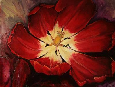 Red Downside Art Print by Jean Cormier