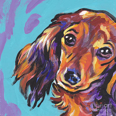 Dachshund Puppy Painting - Red Doxie Baby by Lea S