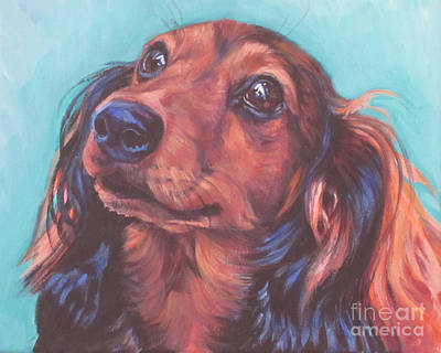 Puppy Painting - Red Doxie by Lee Ann Shepard