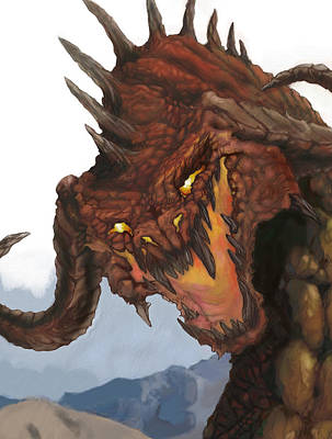 Dragon Painting - Red Dragon by Matt Kedzierski