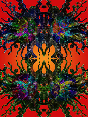Digital Art - Red Dragon Power by Xueling Zou