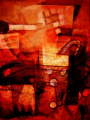 Red Abstract Digital Art - Red Drama by Ann Croon