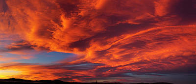 Red Dramatic Sky During Sunset, Taos Art Print by Panoramic Images